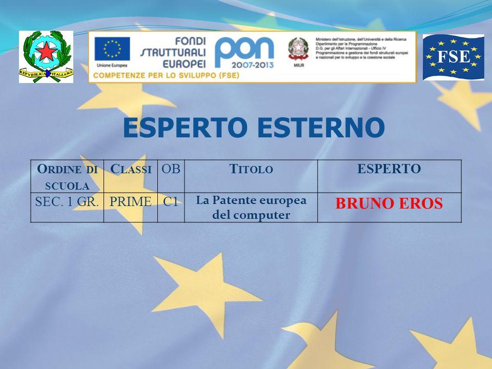 O RDINE DI SCUOLA C LASSI OBT ITOLO ESPERTO SEC. 1 GR.PRIMEC1 La Patente europea del computer BRUNO EROS ESPERTO ESTERNO