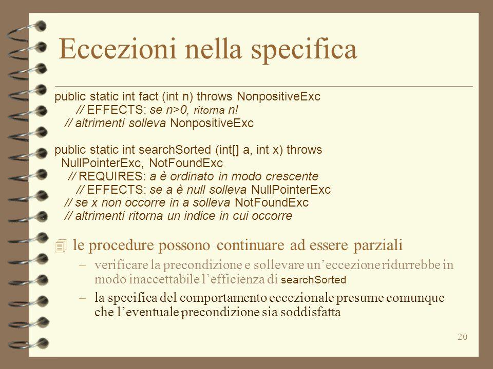 20 Eccezioni nella specifica public static int fact (int n) throws NonpositiveExc // EFFECTS: se n>0, ritorna n! // altrimenti solleva NonpositiveExc
