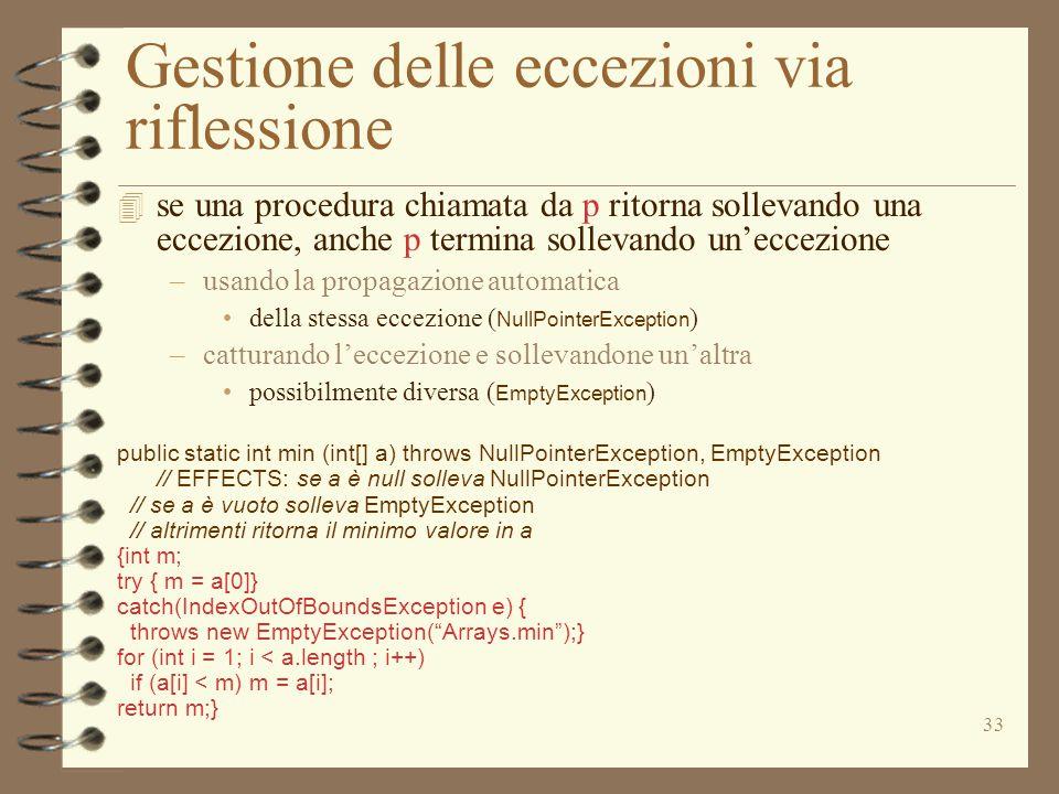 33 Gestione delle eccezioni via riflessione  se una procedura chiamata da p ritorna sollevando una eccezione, anche p termina sollevando un'eccezione –usando la propagazione automatica della stessa eccezione ( NullPointerException ) –catturando l'eccezione e sollevandone un'altra possibilmente diversa ( EmptyException ) public static int min (int[] a) throws NullPointerException, EmptyException // EFFECTS: se a è null solleva NullPointerException // se a è vuoto solleva EmptyException // altrimenti ritorna il minimo valore in a {int m; try { m = a[0]} catch(IndexOutOfBoundsException e) { throws new EmptyException( Arrays.min );} for (int i = 1; i < a.length ; i++) if (a[i] < m) m = a[i]; return m;}