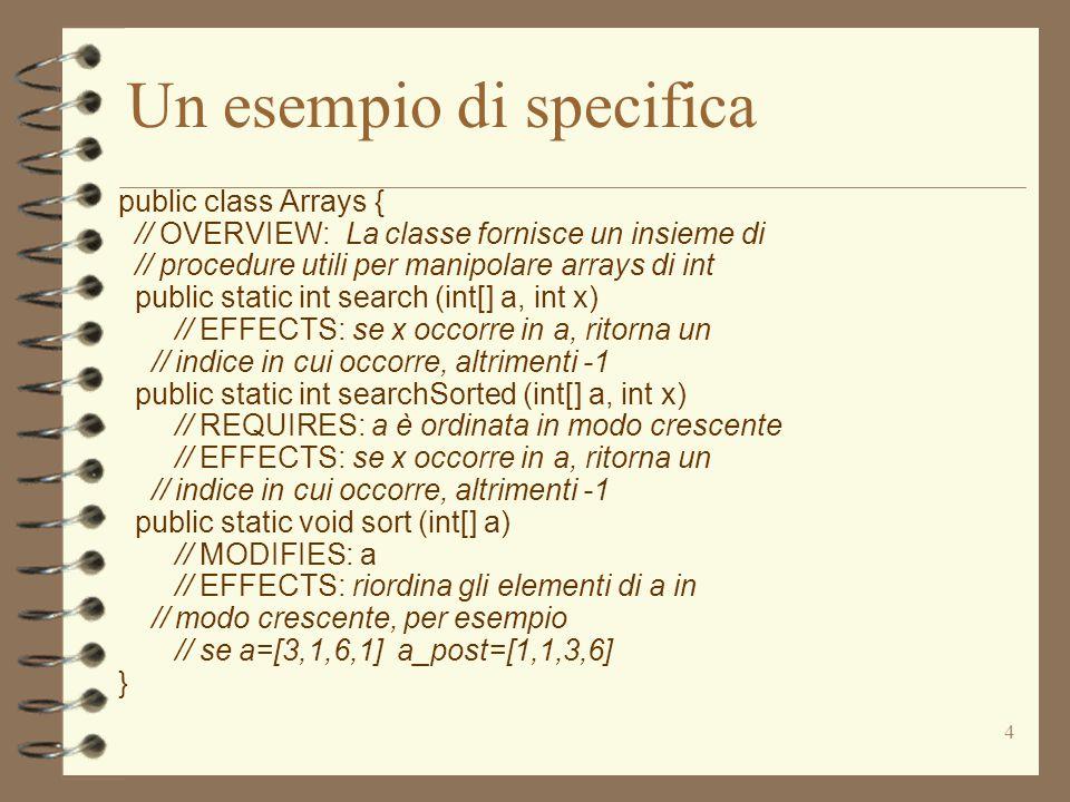 4 Un esempio di specifica public class Arrays { // OVERVIEW: La classe fornisce un insieme di // procedure utili per manipolare arrays di int public static int search (int[] a, int x) // EFFECTS: se x occorre in a, ritorna un // indice in cui occorre, altrimenti -1 public static int searchSorted (int[] a, int x) // REQUIRES: a è ordinata in modo crescente // EFFECTS: se x occorre in a, ritorna un // indice in cui occorre, altrimenti -1 public static void sort (int[] a) // MODIFIES: a // EFFECTS: riordina gli elementi di a in // modo crescente, per esempio // se a=[3,1,6,1] a_post=[1,1,3,6] }