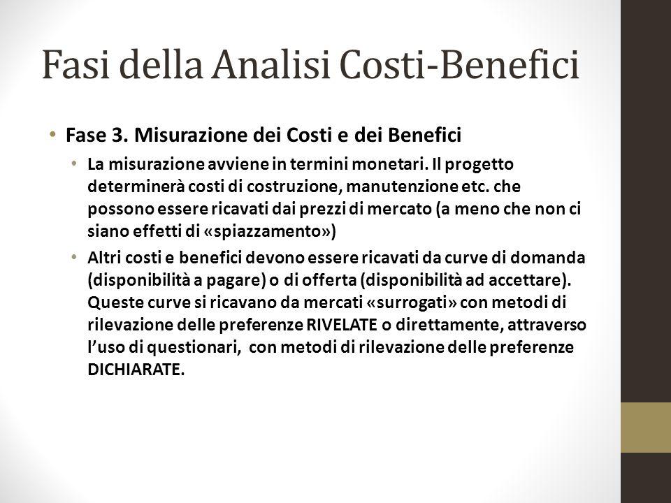 Fasi della Analisi Costi-Benefici Fase 3. Misurazione dei Costi e dei Benefici La misurazione avviene in termini monetari. Il progetto determinerà cos