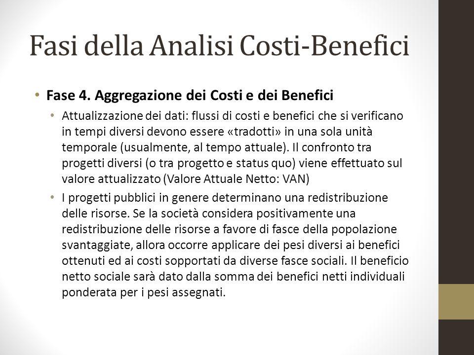 Fasi della Analisi Costi-Benefici Fase 4. Aggregazione dei Costi e dei Benefici Attualizzazione dei dati: flussi di costi e benefici che si verificano