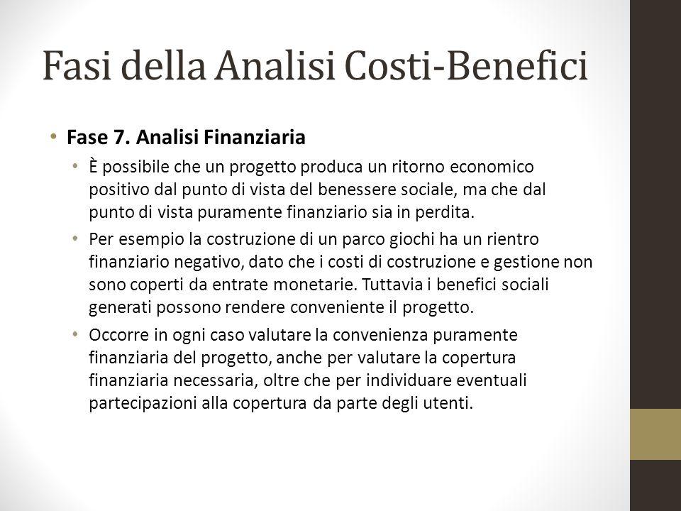 Fasi della Analisi Costi-Benefici Fase 7. Analisi Finanziaria È possibile che un progetto produca un ritorno economico positivo dal punto di vista del