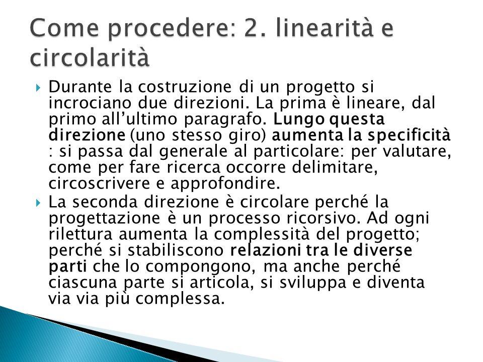  Durante la costruzione di un progetto si incrociano due direzioni. La prima è lineare, dal primo all'ultimo paragrafo. Lungo questa direzione (uno s