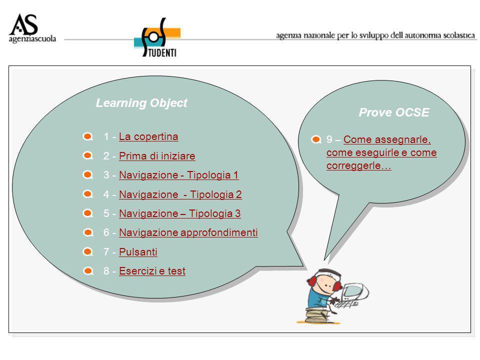 1 - La copertinaLa copertina 2 - Prima di iniziarePrima di iniziare 3 - Navigazione - Tipologia 1Navigazione - Tipologia 1 4 - Navigazione - Tipologia 2Navigazione - Tipologia 2 5 - Navigazione – Tipologia 3Navigazione – Tipologia 3 6 - Navigazione approfondimentiNavigazione approfondimenti 7 - PulsantiPulsanti 8 - Esercizi e testEsercizi e test Learning Object Prove OCSE 9 – Come assegnarle, come eseguirle e come correggerle…Come assegnarle, come eseguirle e come correggerle…
