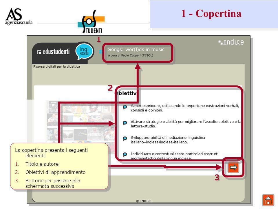 1 - Copertina 1 1 2 2 3 3 La copertina presenta i seguenti elementi: 1.Titolo e autore 2.Obiettivi di apprendimento 3.Bottone per passare alla schermata successiva
