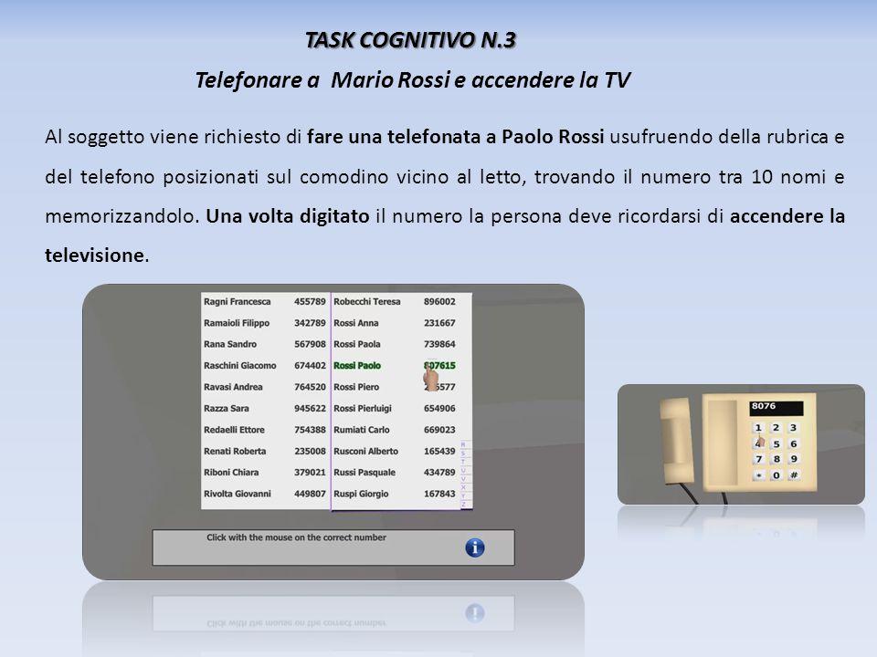 TASK COGNITIVO N.3 Telefonare a Mario Rossi e accendere la TV Al soggetto viene richiesto di fare una telefonata a Paolo Rossi usufruendo della rubric