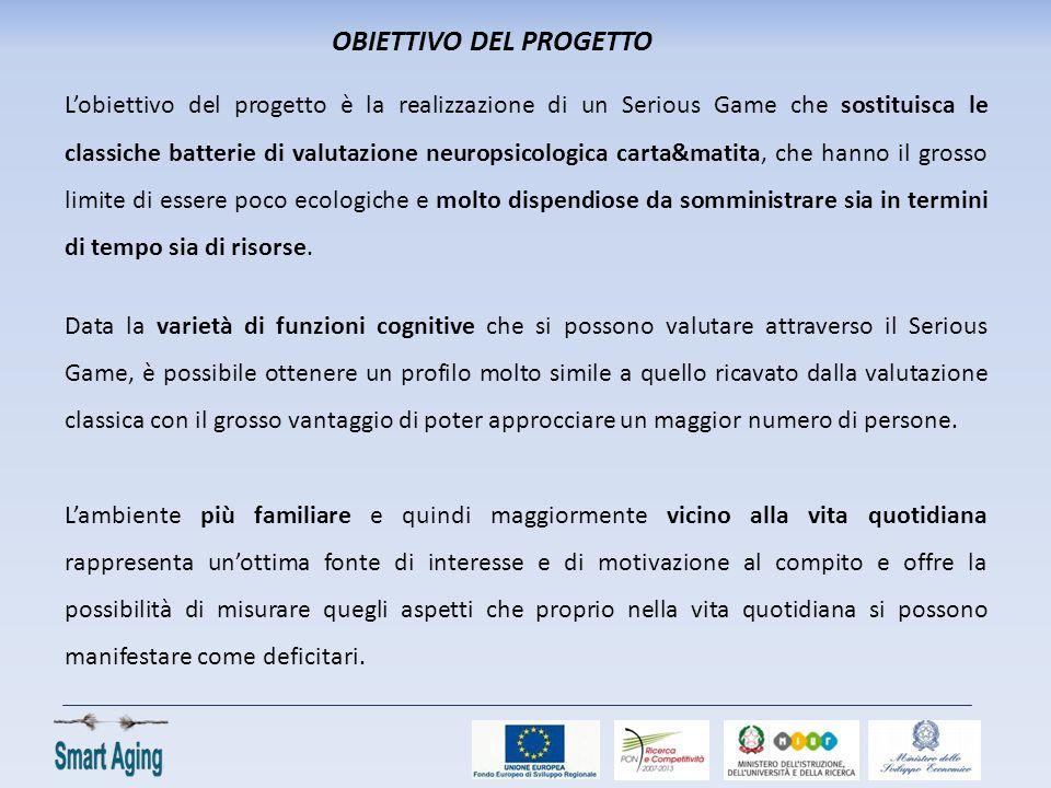 OBIETTIVO DEL PROGETTO L'obiettivo del progetto è la realizzazione di un Serious Game che sostituisca le classiche batterie di valutazione neuropsicol