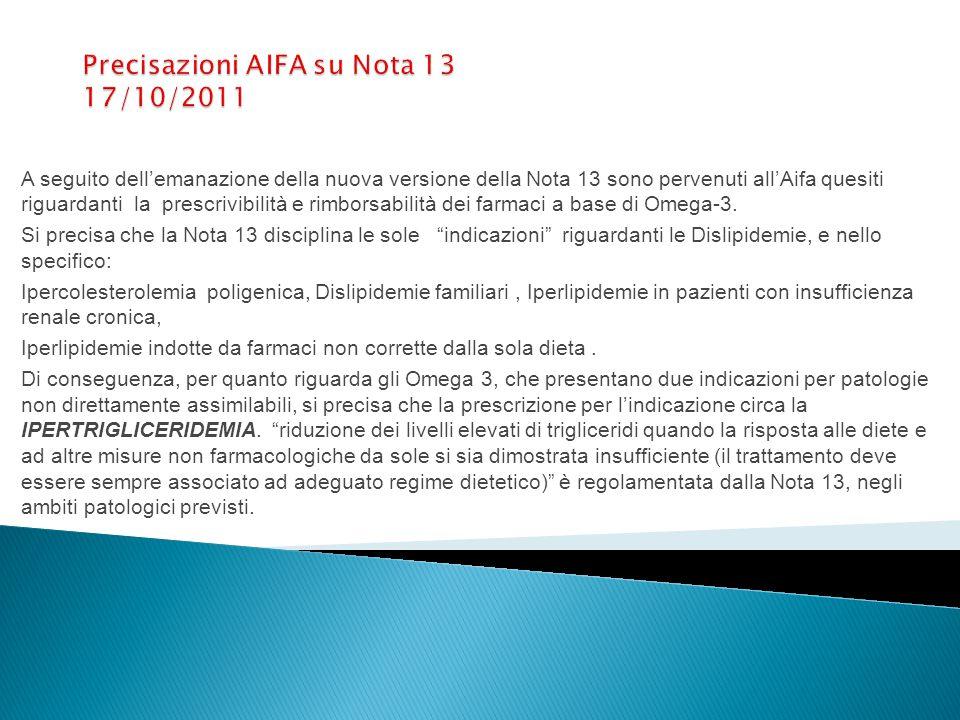 A seguito dell'emanazione della nuova versione della Nota 13 sono pervenuti all'Aifa quesiti riguardanti la prescrivibilità e rimborsabilità dei farmaci a base di Omega-3.