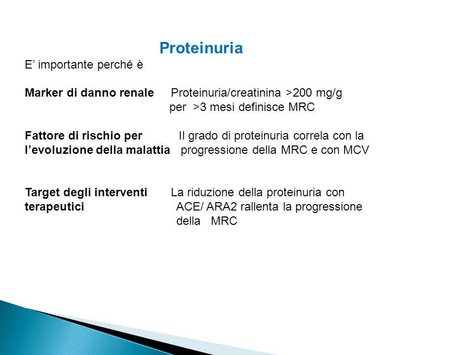 Proteinuria E' importante perché è Marker di danno renale Proteinuria/creatinina >200 mg/g per >3 mesi definisce MRC Fattore di rischio per Il grado di proteinuria correla con la l'evoluzione della malattia progressione della MRC e con MCV Target degli interventi La riduzione della proteinuria con terapeutici ACE/ ARA2 rallenta la progressione della MRC