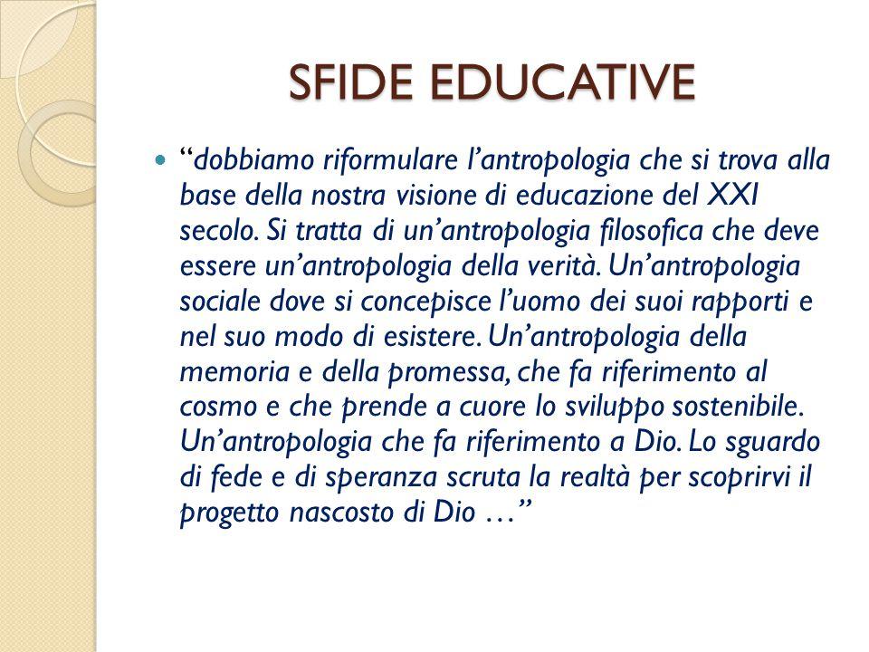 """SFIDE EDUCATIVE """"dobbiamo riformulare l'antropologia che si trova alla base della nostra visione di educazione del XXI secolo. Si tratta di un'antropo"""