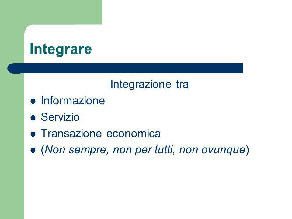 Integrare Integrazione tra Informazione Servizio Transazione economica (Non sempre, non per tutti, non ovunque)
