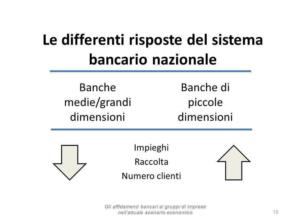 Banche medie/grandi dimensioni Impieghi Raccolta Numero clienti 18 Banche di piccole dimensioni Le differenti risposte del sistema bancario nazionale