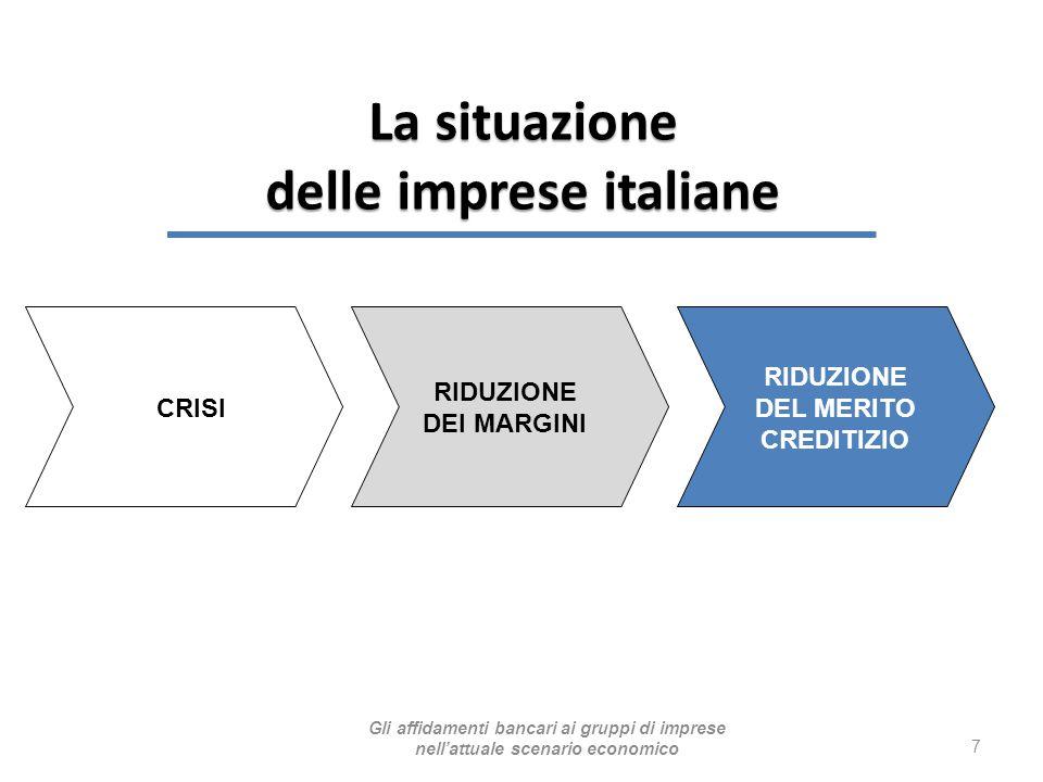 7 CRISI RIDUZIONE DEI MARGINI RIDUZIONE DEL MERITO CREDITIZIO La situazione delle imprese italiane Gli affidamenti bancari ai gruppi di imprese nell'a