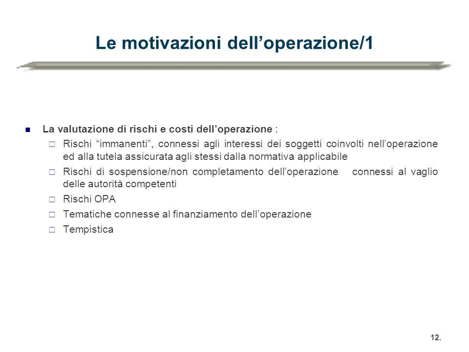 """Le motivazioni dell'operazione/1 La valutazione di rischi e costi dell'operazione :  Rischi """"immanenti"""", connessi agli interessi dei soggetti coinvol"""