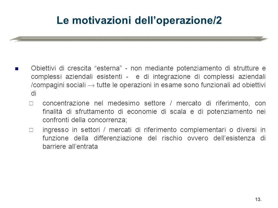 """Le motivazioni dell'operazione/2 Obiettivi di crescita """"esterna"""" - non mediante potenziamento di strutture e complessi aziendali esistenti - e di inte"""