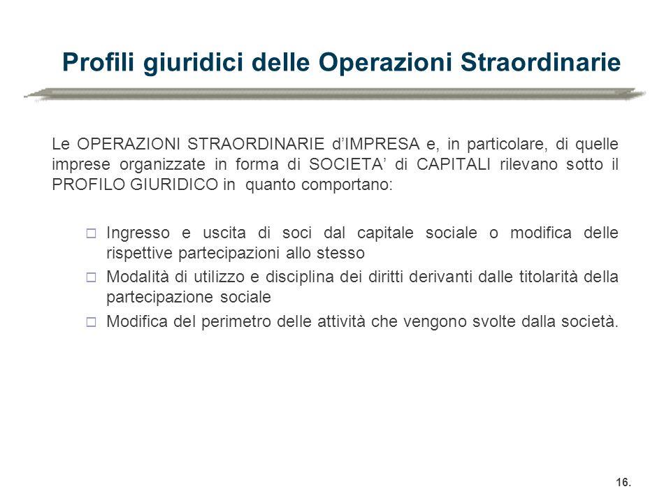 Profili giuridici delle Operazioni Straordinarie Le OPERAZIONI STRAORDINARIE d'IMPRESA e, in particolare, di quelle imprese organizzate in forma di SO