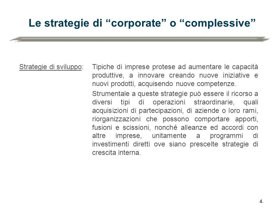 """Le strategie di """"corporate"""" o """"complessive"""" 4. Strategie di sviluppo:Tipiche di imprese protese ad aumentare le capacità produttive, a innovare creand"""