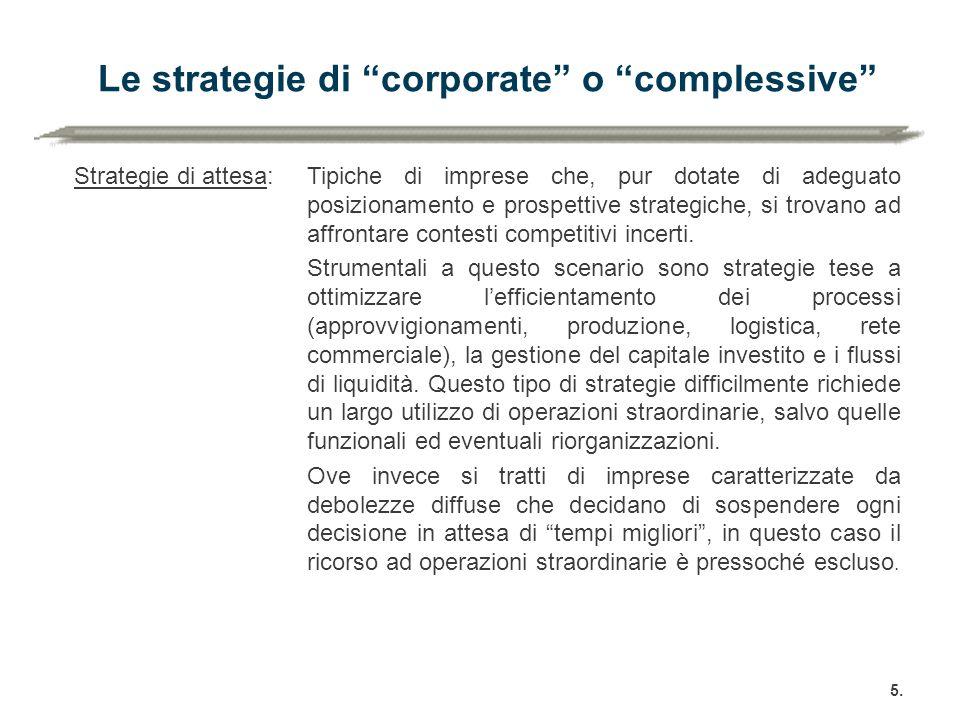 """Le strategie di """"corporate"""" o """"complessive"""" 5. Strategie di attesa:Tipiche di imprese che, pur dotate di adeguato posizionamento e prospettive strateg"""