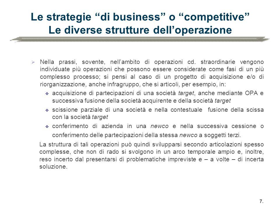"""Le strategie """"di business"""" o """"competitive"""" Le diverse strutture dell'operazione  Nella prassi, sovente, nell'ambito di operazioni cd. straordinarie v"""