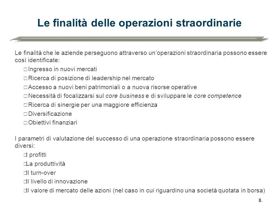 Le finalità delle operazioni straordinarie Le finalità che le aziende perseguono attraverso un'operazioni straordinaria possono essere così identifica