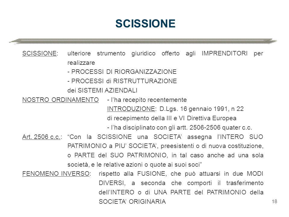 SCISSIONE SCISSIONE:ulteriore strumento giuridico offerto agli IMPRENDITORI per realizzare - PROCESSI DI RIORGANIZZAZIONE - PROCESSI di RISTRUTTURAZIONE dei SISTEMI AZIENDALI NOSTRO ORDINAMENTO- l'ha recepito recentemente INTRODUZIONE: D.Lgs.