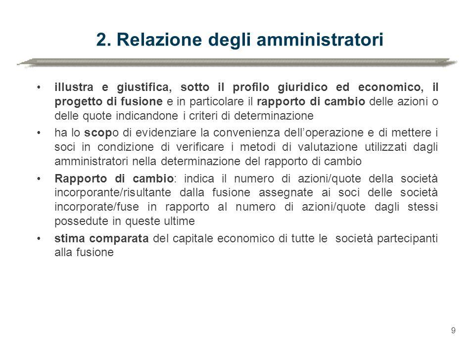 2. Relazione degli amministratori illustra e giustifica, sotto il profilo giuridico ed economico, il progetto di fusione e in particolare il rapporto