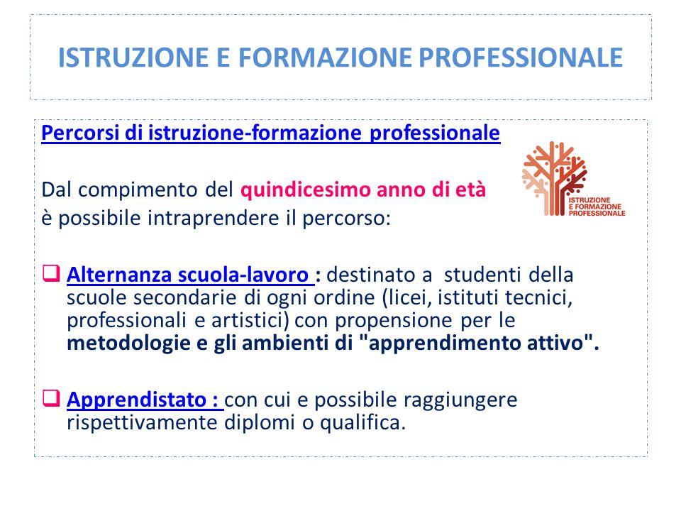 ISTRUZIONE E FORMAZIONE PROFESSIONALE Percorsi di istruzione-formazione professionale Dal compimento del quindicesimo anno di età è possibile intrapre