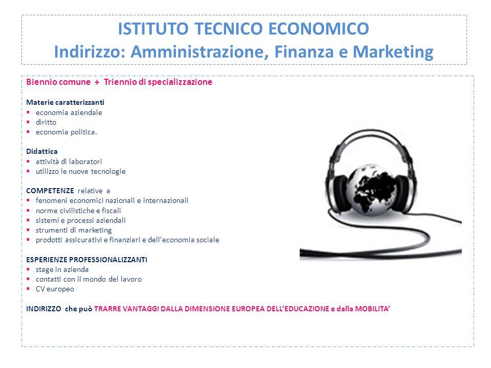 ISTITUTO TECNICO ECONOMICO Indirizzo: Amministrazione, Finanza e Marketing Biennio comune + Triennio di specializzazione Materie caratterizzanti  eco