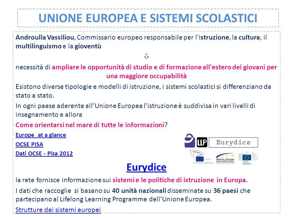UNIONE EUROPEA E SISTEMI SCOLASTICI Androulla Vassiliou, Commissario europeo responsabile per l'istruzione, la cultura, il multilinguismo e la giovent