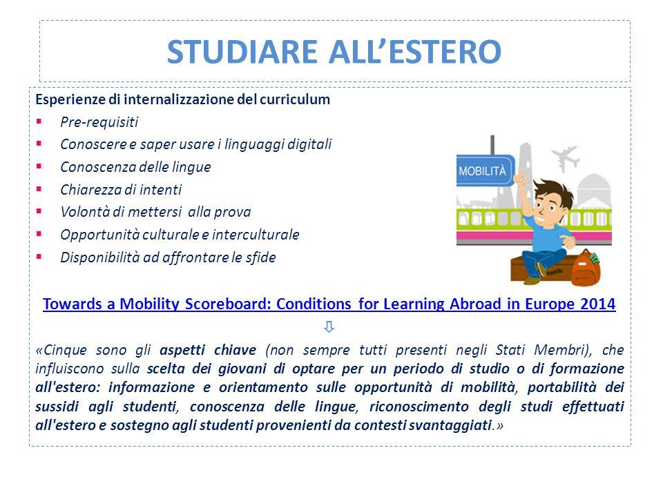 STUDIARE ALL'ESTERO Esperienze di internalizzazione del curriculum  Pre-requisiti  Conoscere e saper usare i linguaggi digitali  Conoscenza delle l