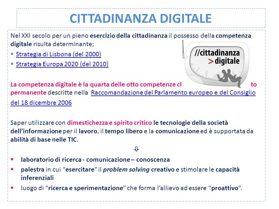 CITTADINANZA DIGITALE Nel XXI secolo per un pieno esercizio della cittadinanza il possesso della competenza digitale risulta determinante;  Strategia