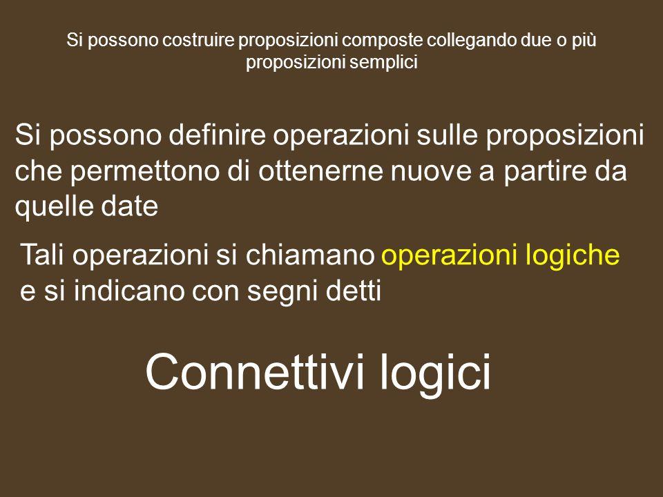 Si possono costruire proposizioni composte collegando due o più proposizioni semplici Si possono definire operazioni sulle proposizioni che permettono
