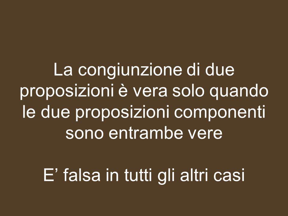 La congiunzione di due proposizioni è vera solo quando le due proposizioni componenti sono entrambe vere E' falsa in tutti gli altri casi