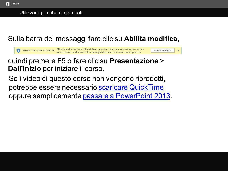 Utilizzare gli schemi stampati j quindi premere F5 o fare clic su Presentazione > Dall inizio per iniziare il corso.