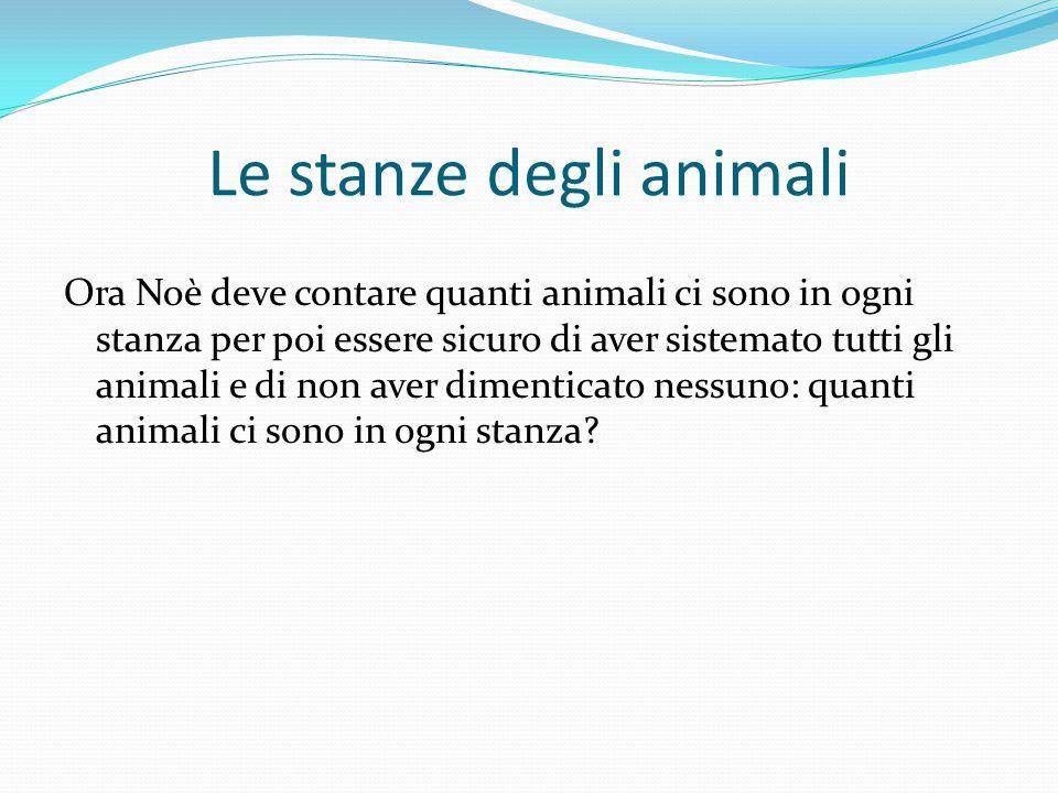 Ora Noè deve contare quanti animali ci sono in ogni stanza per poi essere sicuro di aver sistemato tutti gli animali e di non aver dimenticato nessuno: quanti animali ci sono in ogni stanza.