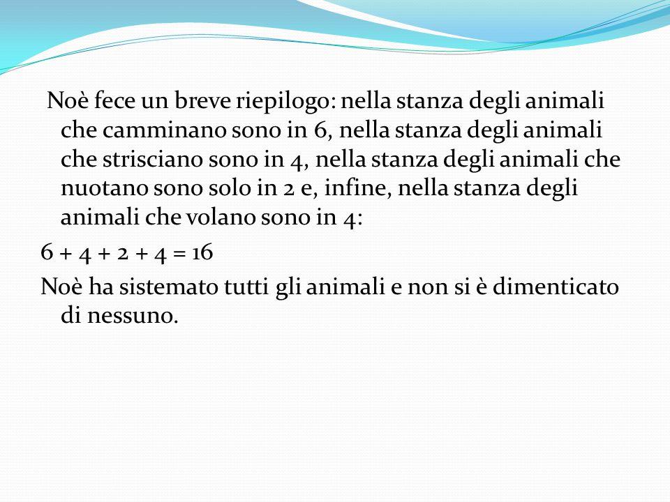 Noè fece un breve riepilogo: nella stanza degli animali che camminano sono in 6, nella stanza degli animali che strisciano sono in 4, nella stanza deg