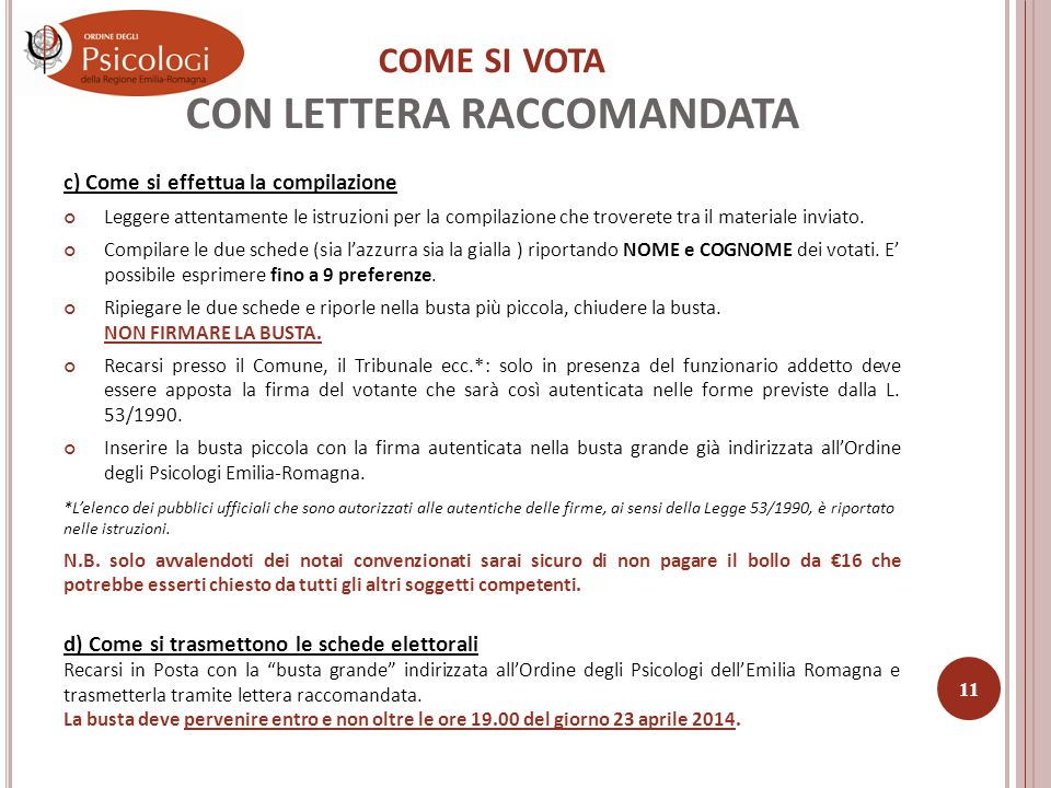 COME SI VOTA CON LETTERA RACCOMANDATA 3.