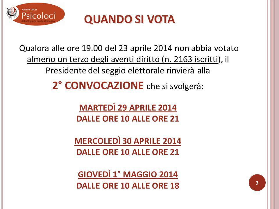 Le elezioni per il rinnovo del Consiglio dell'Ordine degli Psicologi della regione Emilia-Romagna si svolgeranno in 1° CONVOCAZIONE il giorno: 23 APRILE 2014 DALLE ORE 11.00 ALLE ORE 19.00 2 QUANDO SI VOTA