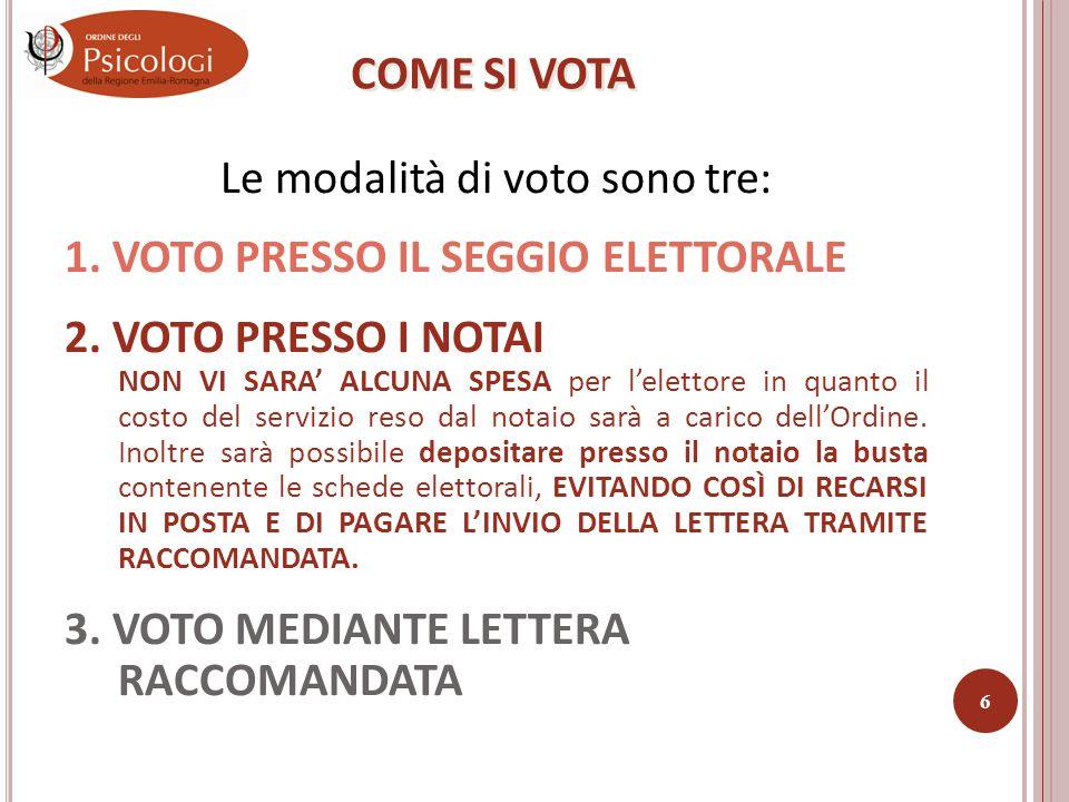 Le modalità di voto sono tre: 1.VOTO PRESSO IL SEGGIO ELETTORALE 2.