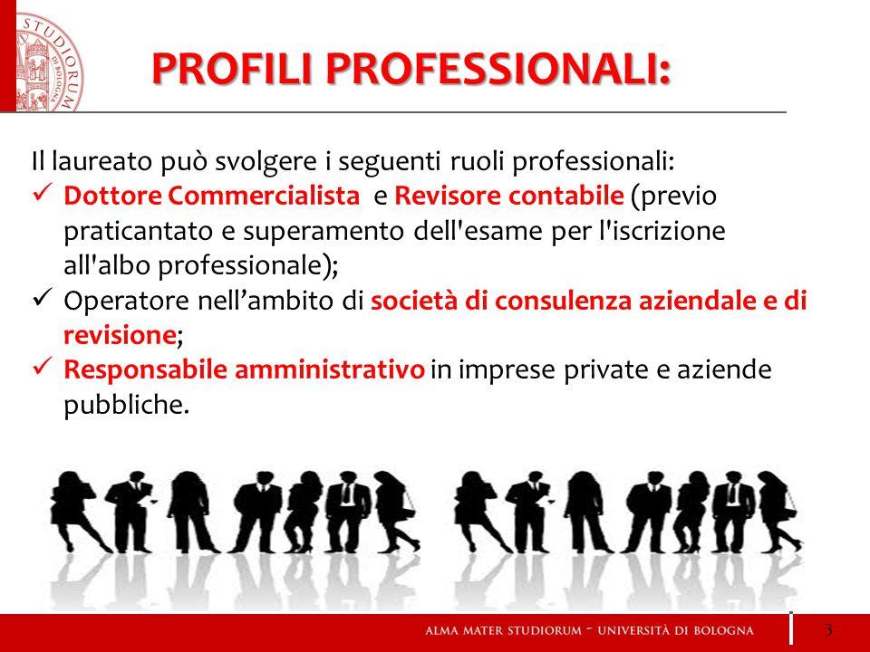PROFILI PROFESSIONALI: Il laureato può svolgere i seguenti ruoli professionali: Dottore Commercialista e Revisore contabile (previo praticantato e sup