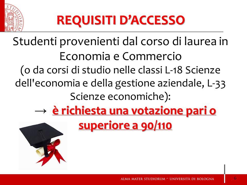 Studenti provenienti dal corso di laurea in Economia e Commercio (o da corsi di studio nelle classi L-18 Scienze dell'economia e della gestione aziend