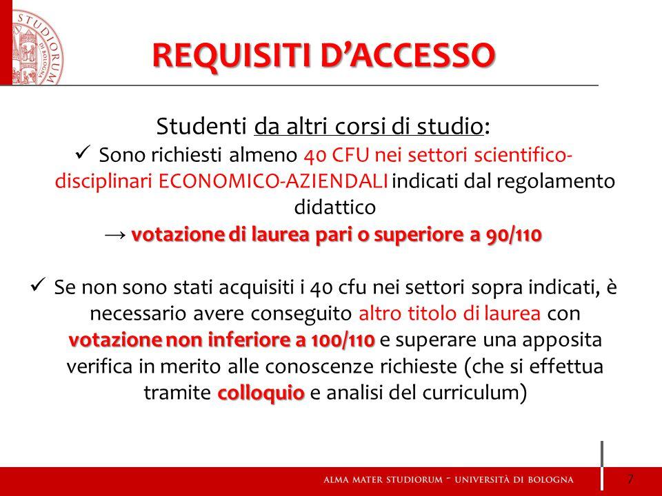 Studenti da altri corsi di studio: Sono richiesti almeno 40 CFU nei settori scientifico- disciplinari ECONOMICO-AZIENDALI indicati dal regolamento did