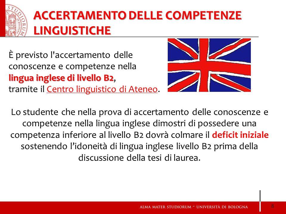 È previsto l'accertamento delle conoscenze e competenze nella lingua inglese di livello B2 lingua inglese di livello B2, tramite il Centro linguistico