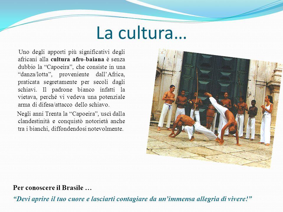 La cultura… Uno degli apporti più significativi degli africani alla cultura afro-baiana è senza dubbio la Capoeira , che consiste in una danza/lotta , proveniente dall'Africa, praticata segretamente per secoli dagli schiavi.