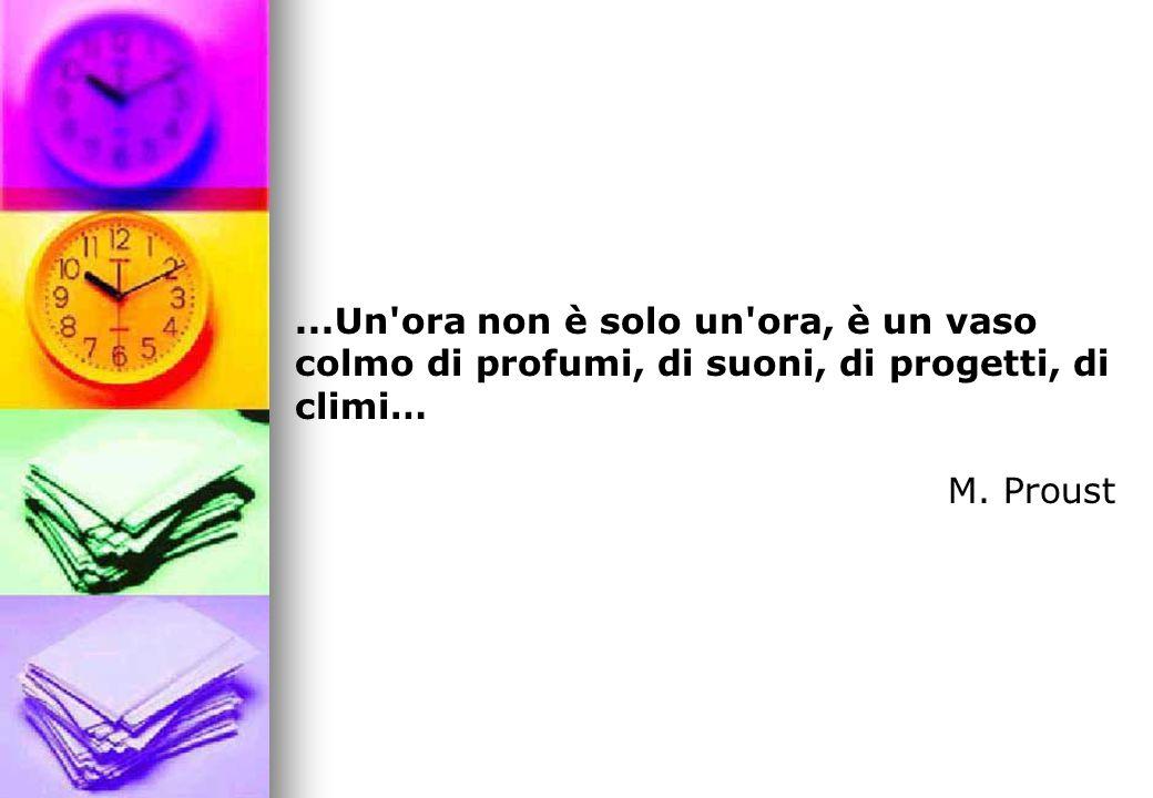 ...Un ora non è solo un ora, è un vaso colmo di profumi, di suoni, di progetti, di climi… M. Proust