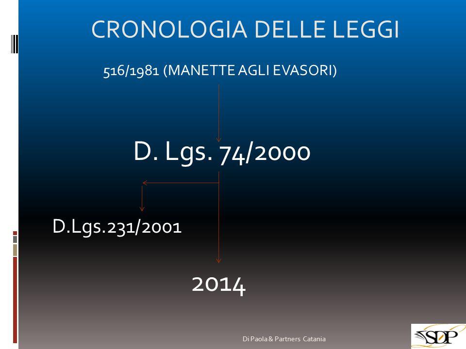 CRONOLOGIA DELLE LEGGI 516/1981 (MANETTE AGLI EVASORI) D. Lgs. 74/2000 2014 D.Lgs.231/2001 Di Paola & Partners Catania