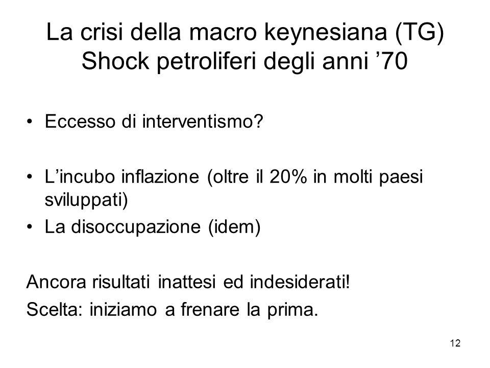 12 La crisi della macro keynesiana (TG) Shock petroliferi degli anni '70 Eccesso di interventismo? L'incubo inflazione (oltre il 20% in molti paesi sv