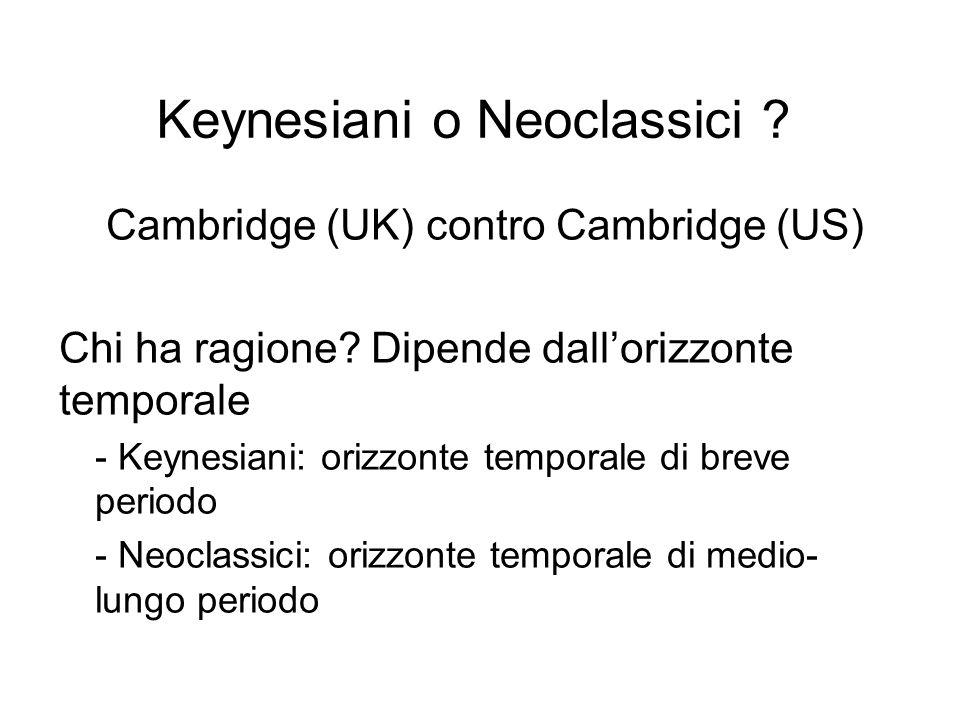 Keynesiani o Neoclassici ? Cambridge (UK) contro Cambridge (US) Chi ha ragione? Dipende dall'orizzonte temporale - Keynesiani: orizzonte temporale di