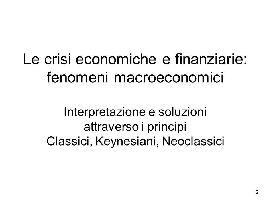 13 La nuova macroeconomia classica (NCM) Un minor interventismo nella politica economica rende meno probabili i risultati inattesi ed indesiderabili.